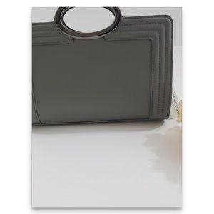 Grey clutch handbag